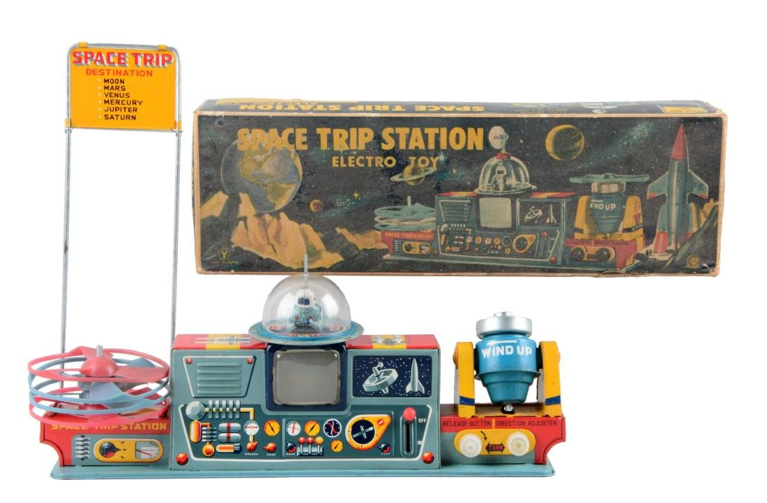 Japanese Tin Litho Battery Operated Space Trip Station.