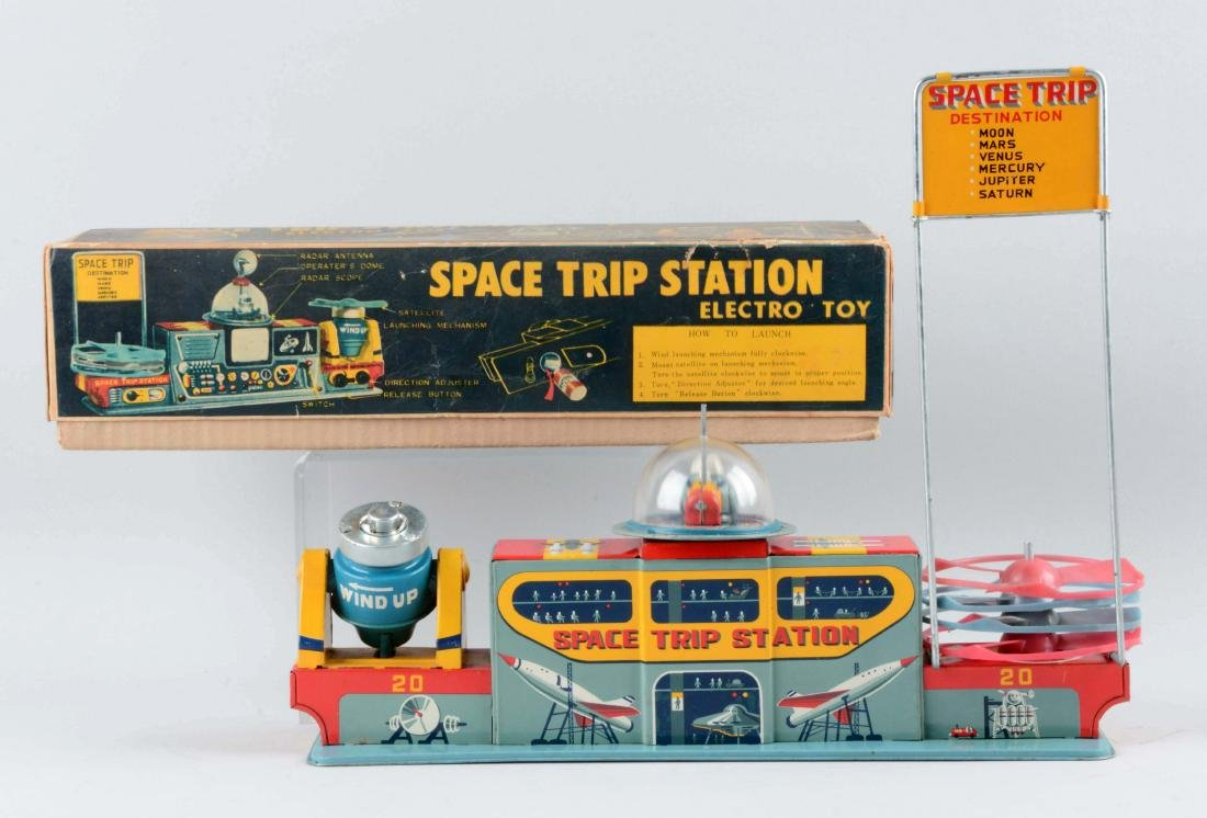 Japanese Tin Litho Battery Operated Space Trip Station. - 2