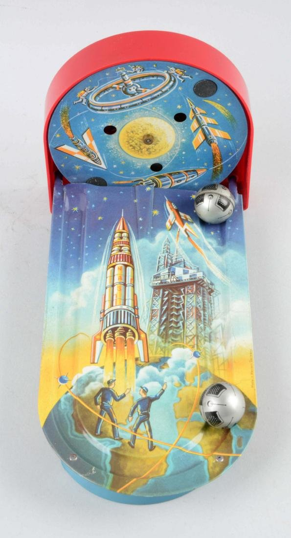 German Tin Litho Wind Up Space Game. - 2