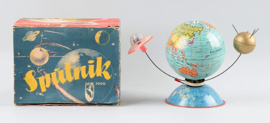 German Tin Litho Wind-Up Sputnik Toy. - 2