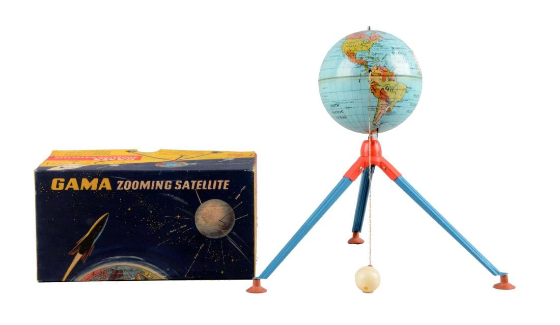 German Gama Tin Litho Wind-Up Zooming Satellite Toy.