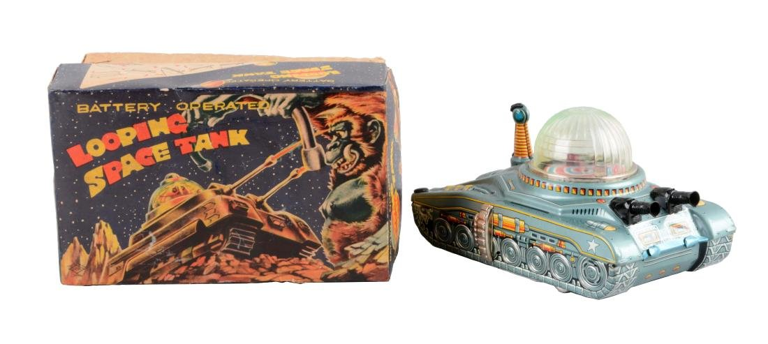 Japanese Tin Litho Battery-Operated Looping Space Tank