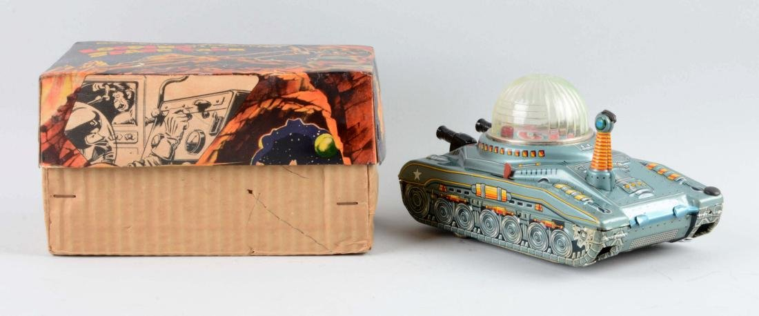 Japanese Tin Litho Battery-Operated Looping Space Tank - 2