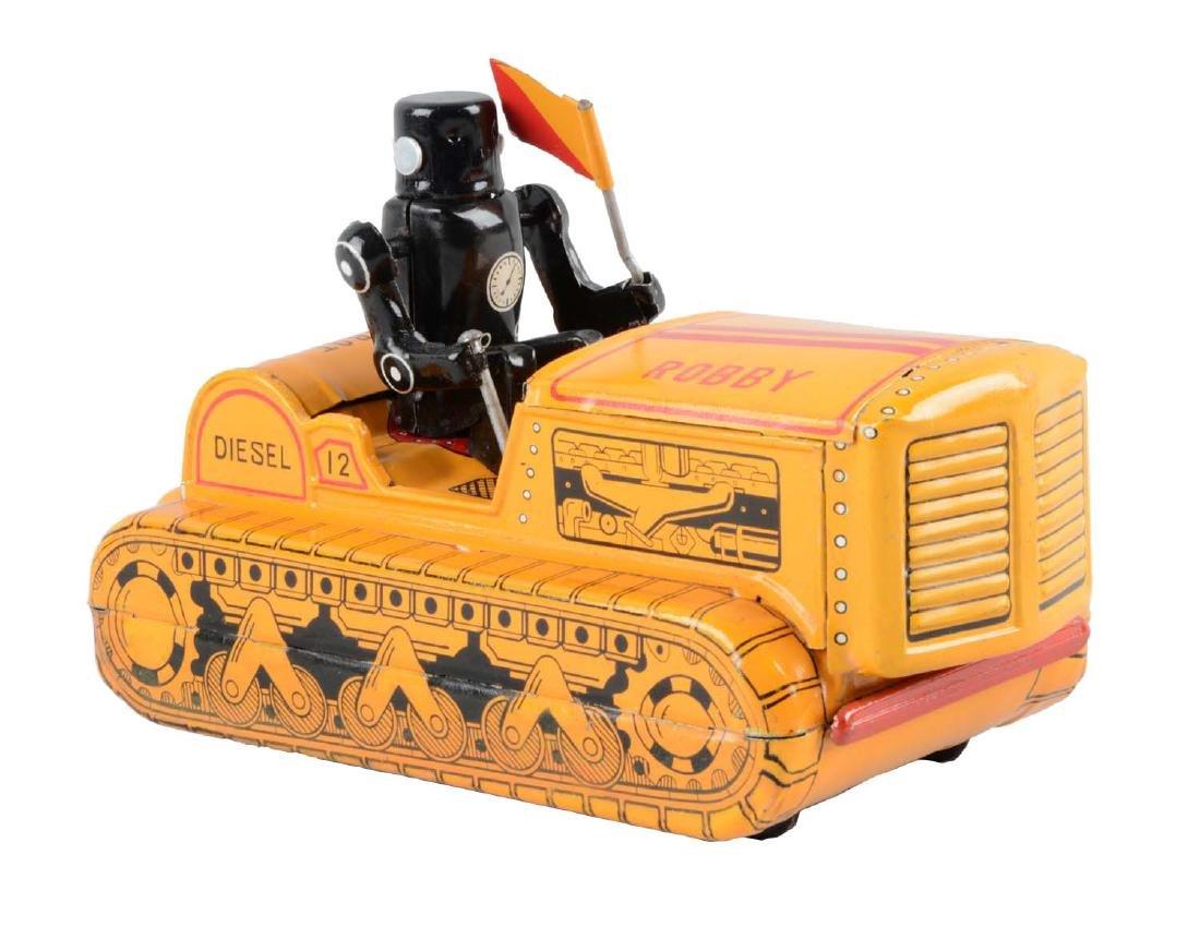 Japanese Tin Litho Friction Robby Robot Bulldozer.