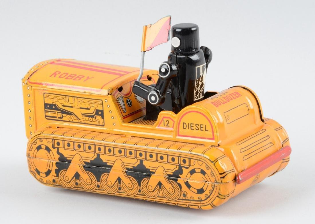 Japanese Tin Litho Friction Robby Robot Bulldozer. - 2
