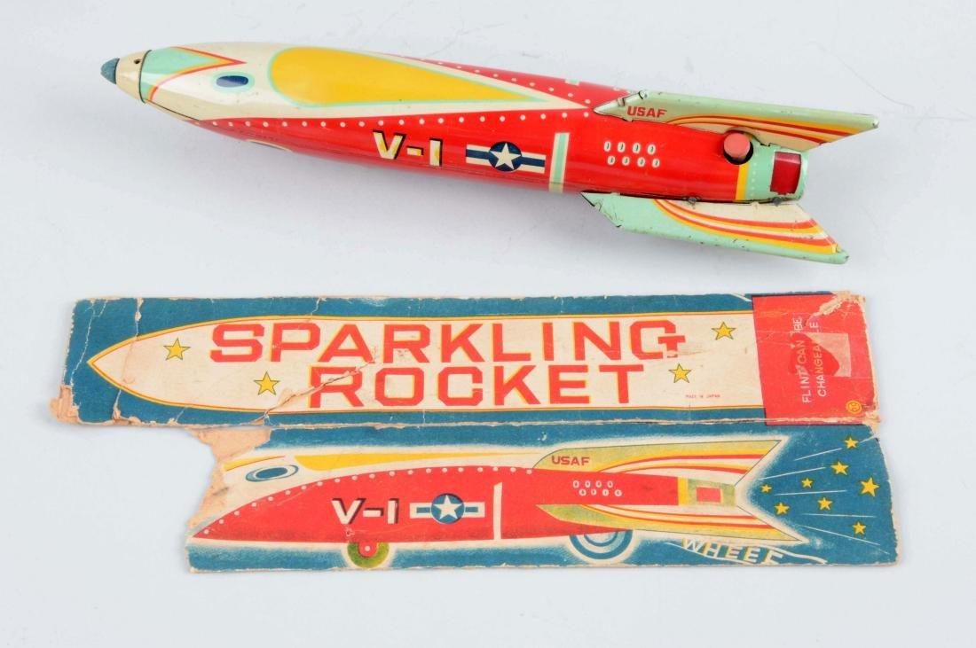 Japanese Tin Litho Friction V-1 Sparkling Rocket. - 2