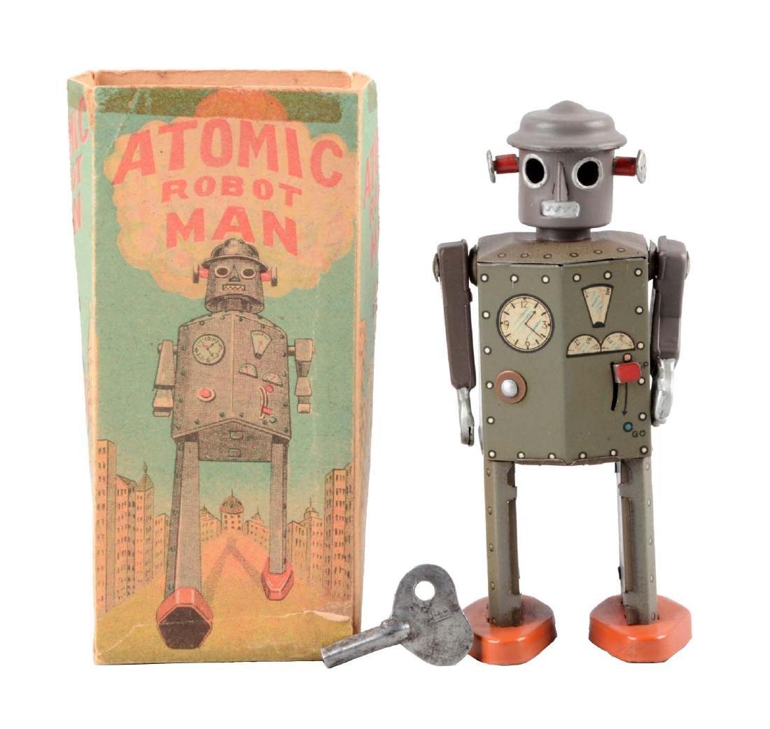Japanese Tin Litho Wind Up Atomic Robot Man.
