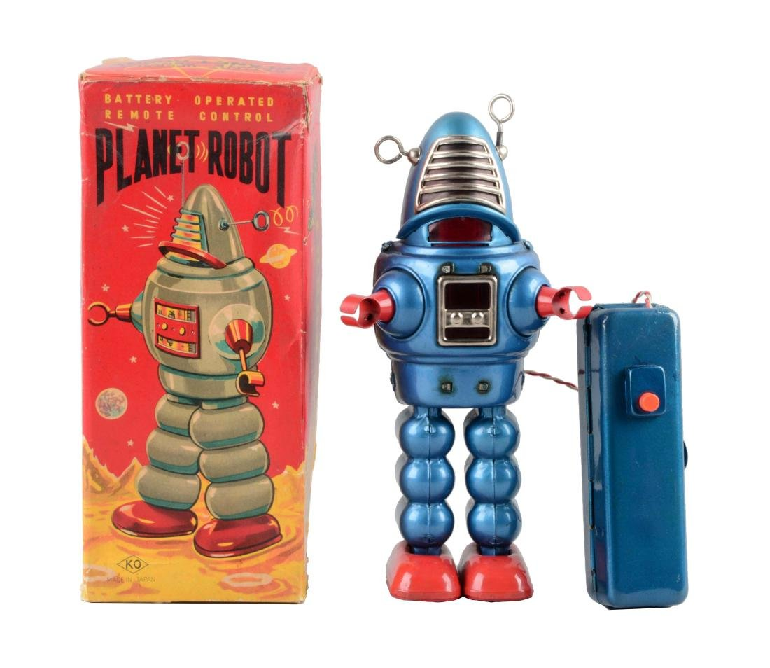 Japanese Tin Litho Battery-Operated Planet Robot.
