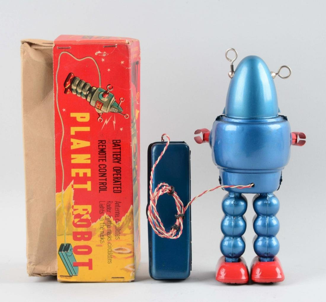 Japanese Tin Litho Battery-Operated Planet Robot. - 2