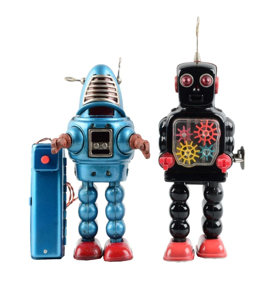 Lot Of 2: Japanese Tin Litho Remote Control Robots.