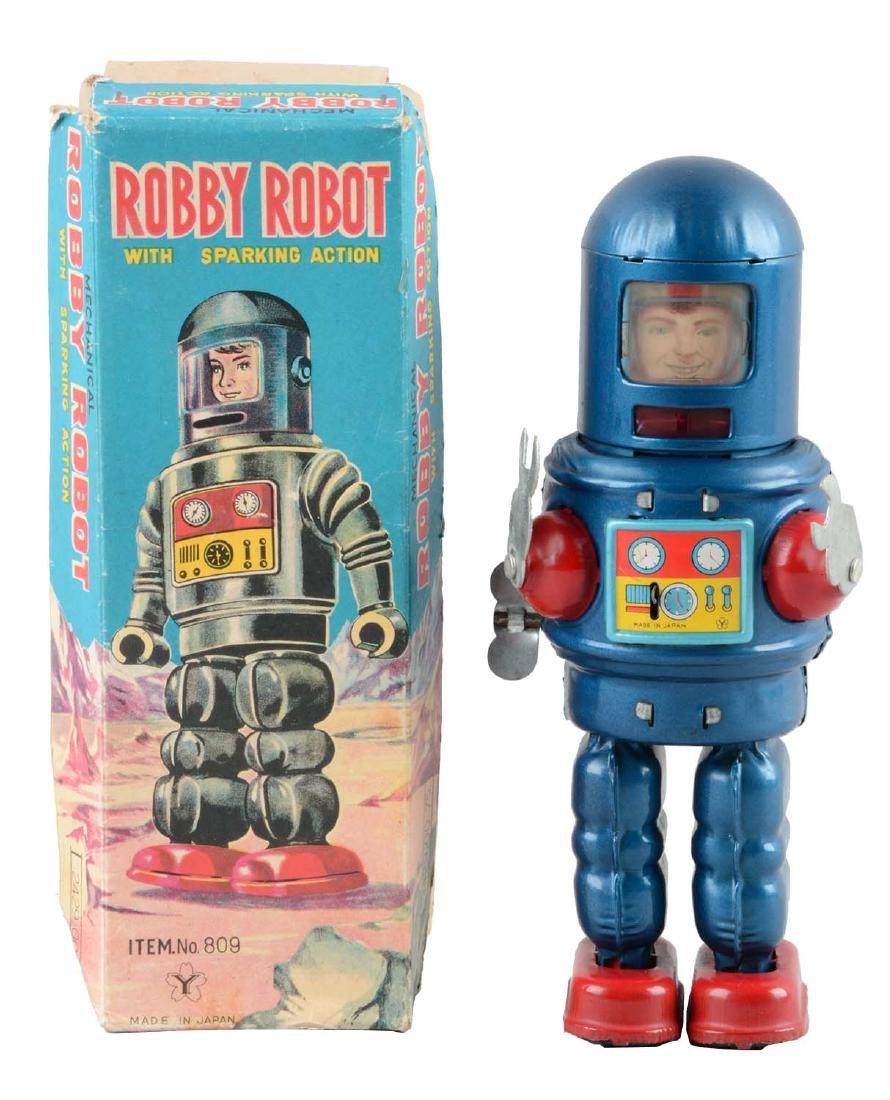 Japanese Tin Litho Wind Up Robby Robot.