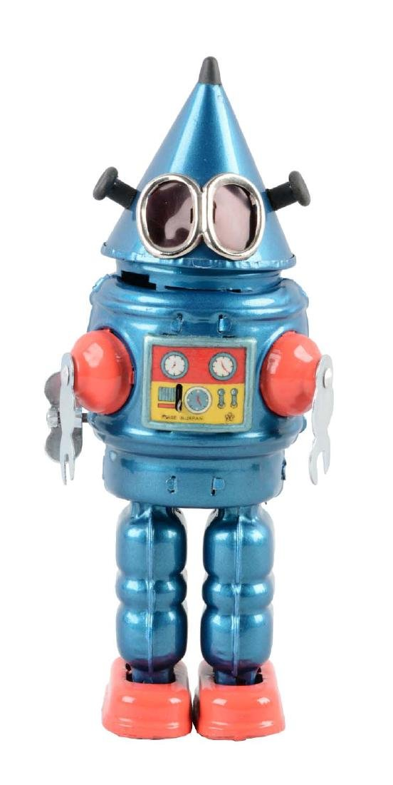 Japanese Tin Litho Wind Up Cone Head Robot.