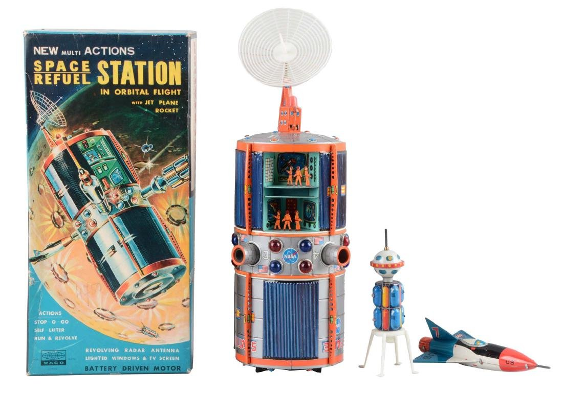 Tin Litho Battery-Operated Space Refuel Station.