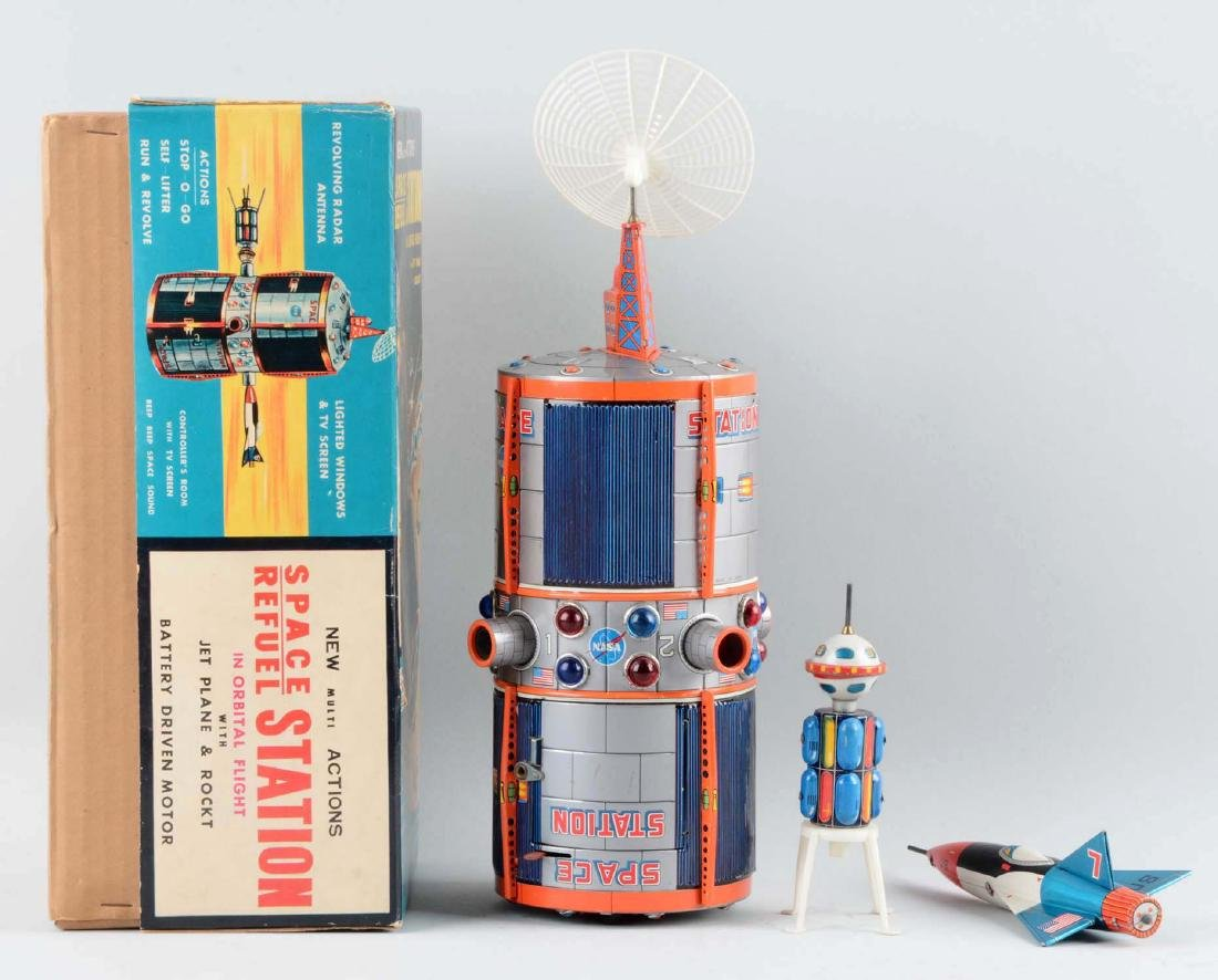 Tin Litho Battery-Operated Space Refuel Station. - 2