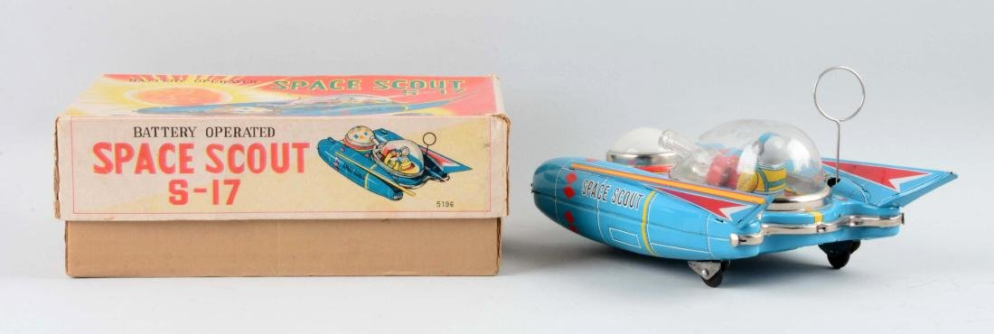 Japanese Tin Litho Battery-Operated Space Scout S-17. - 2
