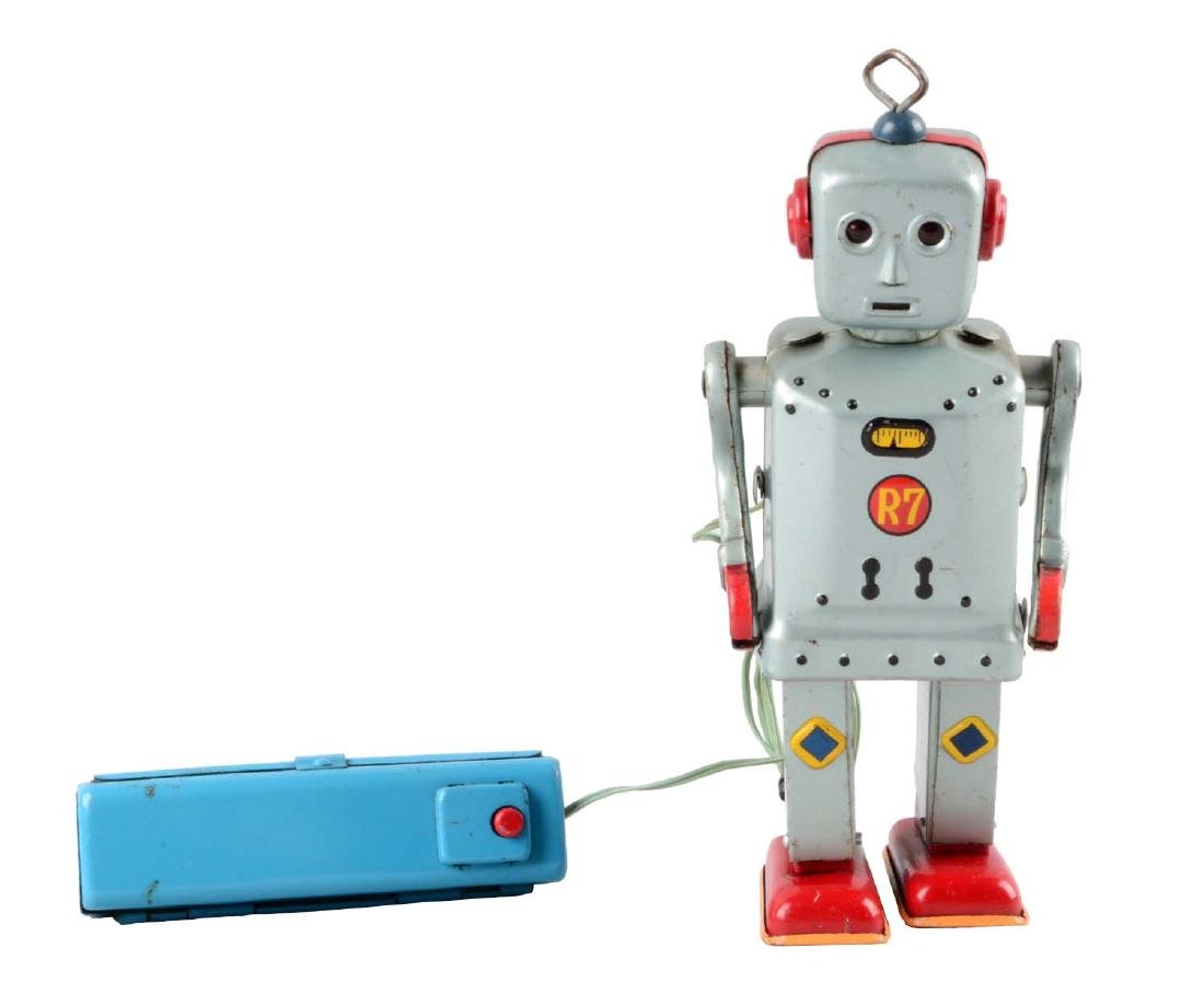Japanese Tin Litho Battery-Operated R7 Robot.
