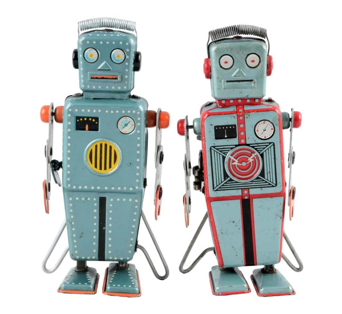 Lot of 2: Japanese Tin Litho Wind Up Easel Back Robots.