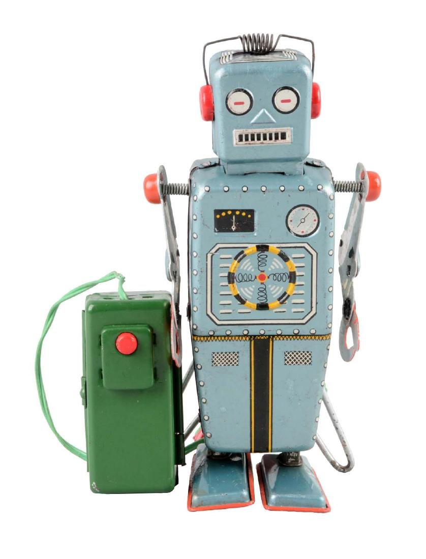 Japanese Tin Litho Battery Operated Easel Back Robot.