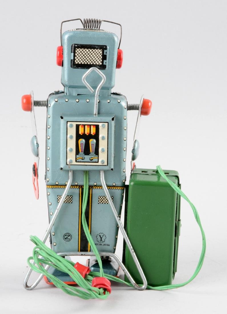 Japanese Tin Litho Battery Operated Easel Back Robot. - 2
