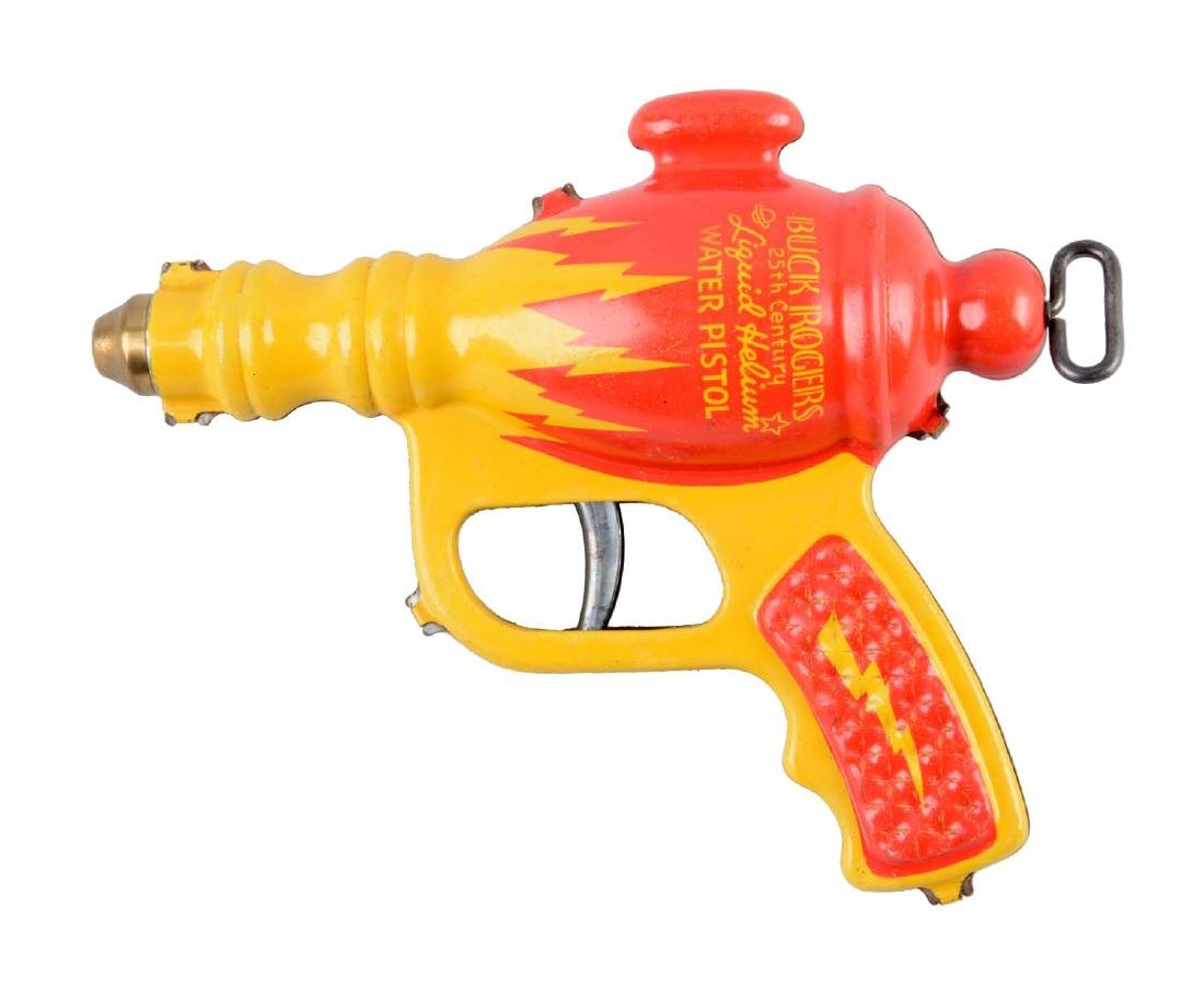 Daisy Buck Rogers Tin Litho Liquid Helium Water Pistol.