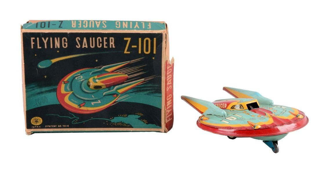 Japanese Tin Litho Friction Flying Saucer Z-101.