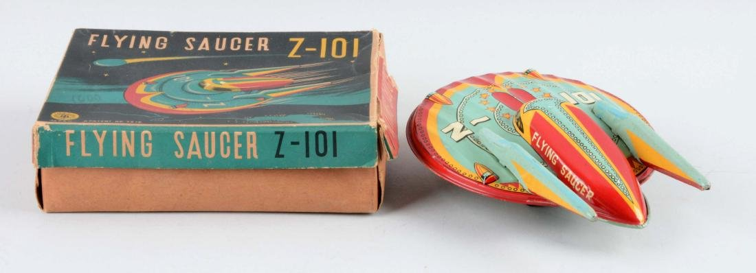 Japanese Tin Litho Friction Flying Saucer Z-101. - 2