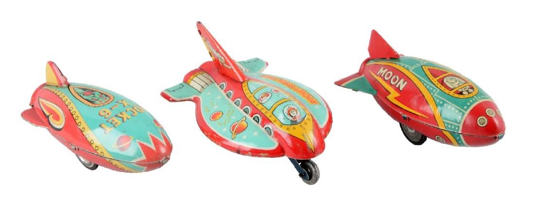 Lot Of 3: Japanese Tin Litho Space Rocket Vehicles.
