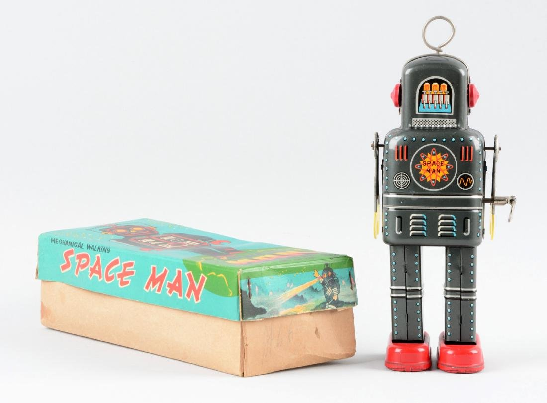 Japanese Tin Litho Wind-Up Space Man Robot. - 2
