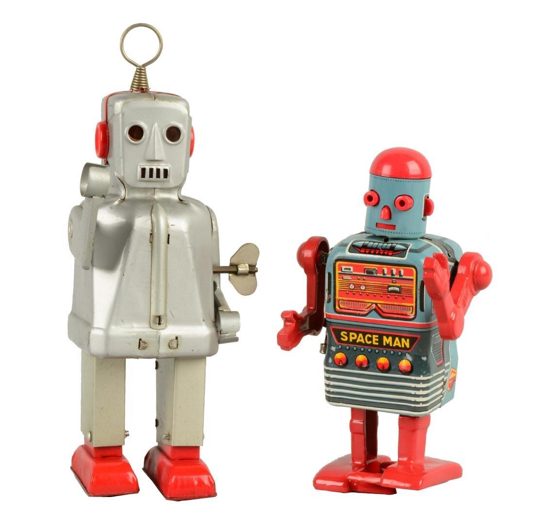 Lot Of 2: Japanese Tin Litho Wind-Up Robots.