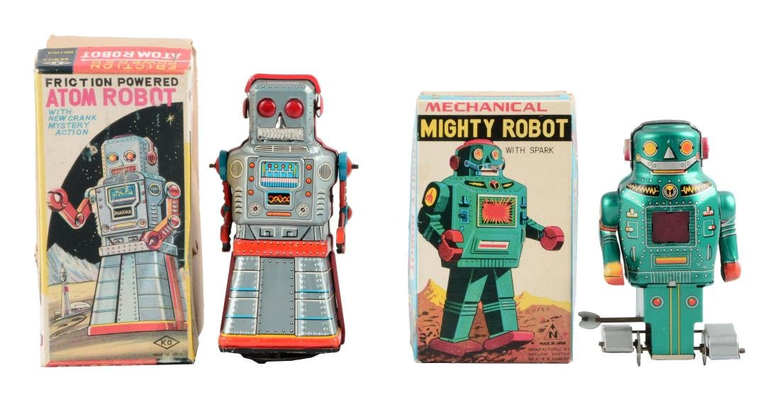 Lot Of 2: Japanese Tin Litho Robot Toys.