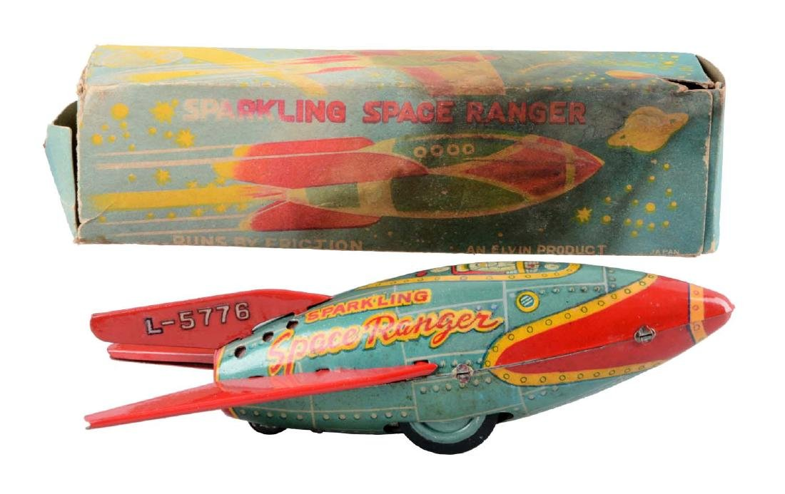 Japanese Tin Litho Friction Sparkling Space Ranger