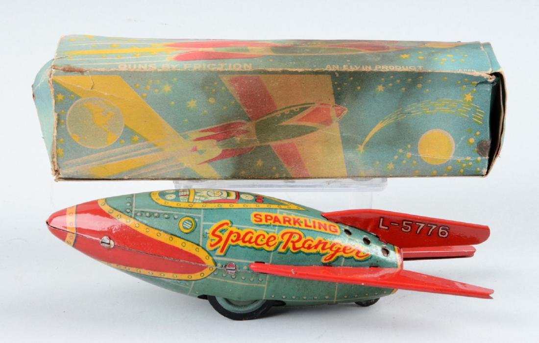 Japanese Tin Litho Friction Sparkling Space Ranger - 2