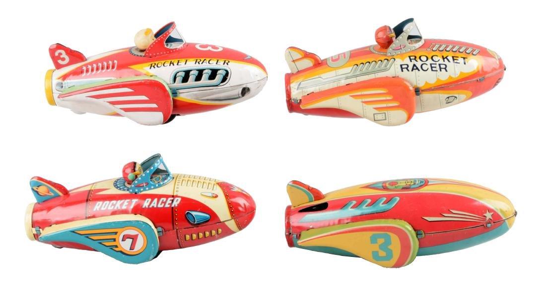Lot Of 4: Japanese Tin Litho Friction Rocket Toys.