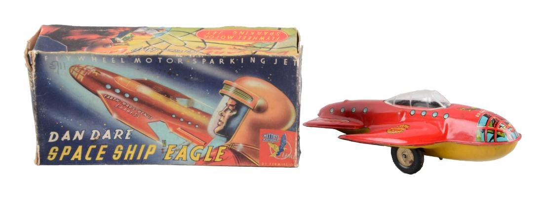 English Tin Litho Friction Dan Dare Space Ship Toy.