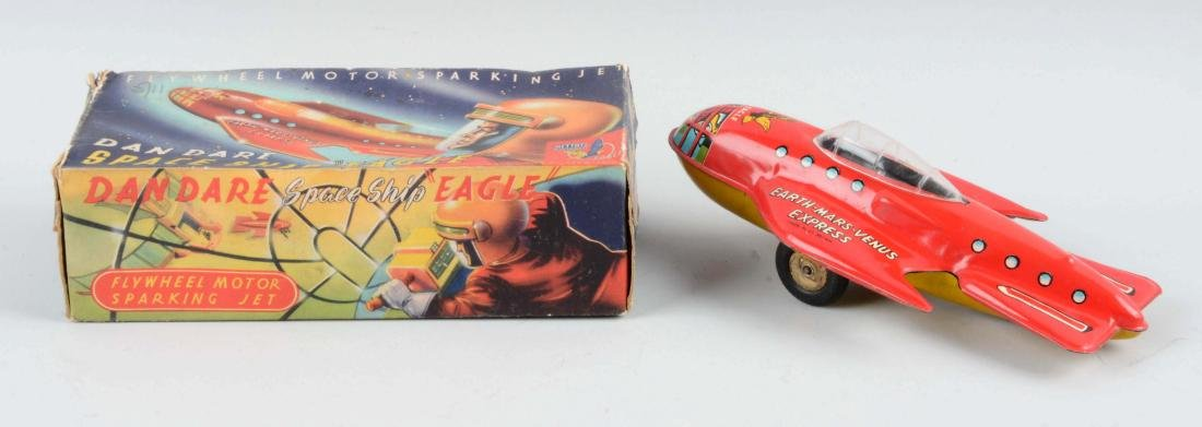 English Tin Litho Friction Dan Dare Space Ship Toy. - 2