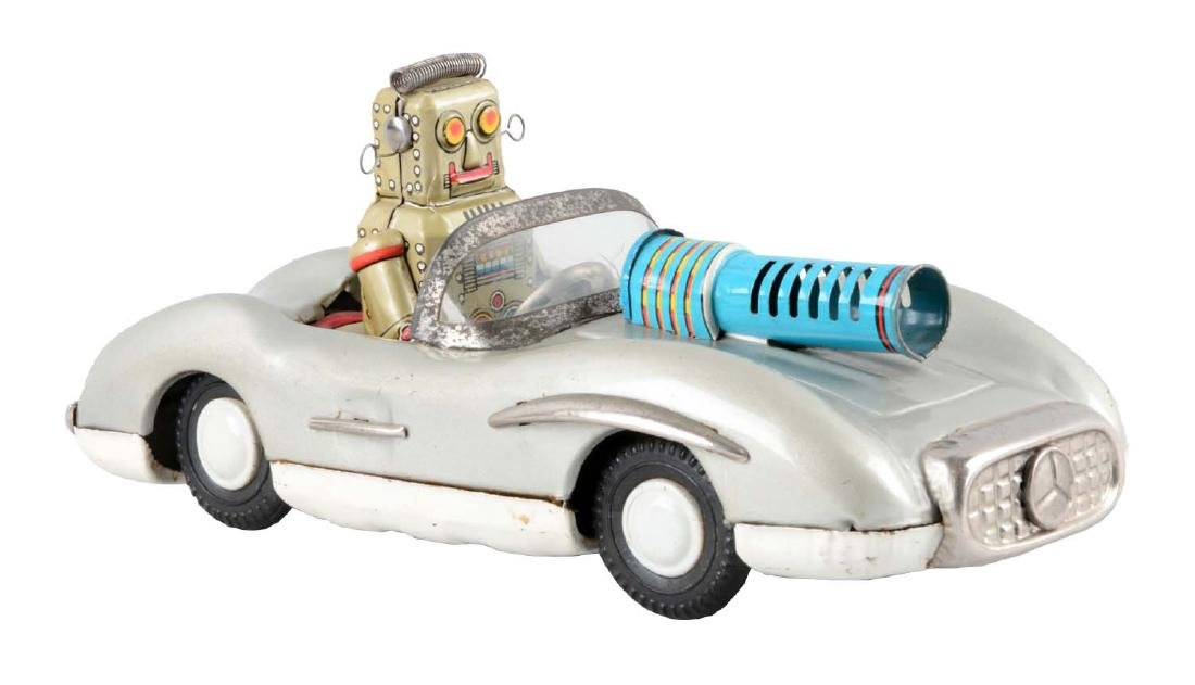 Japanese Tin Litho Friction Robot Driving Mercedes.