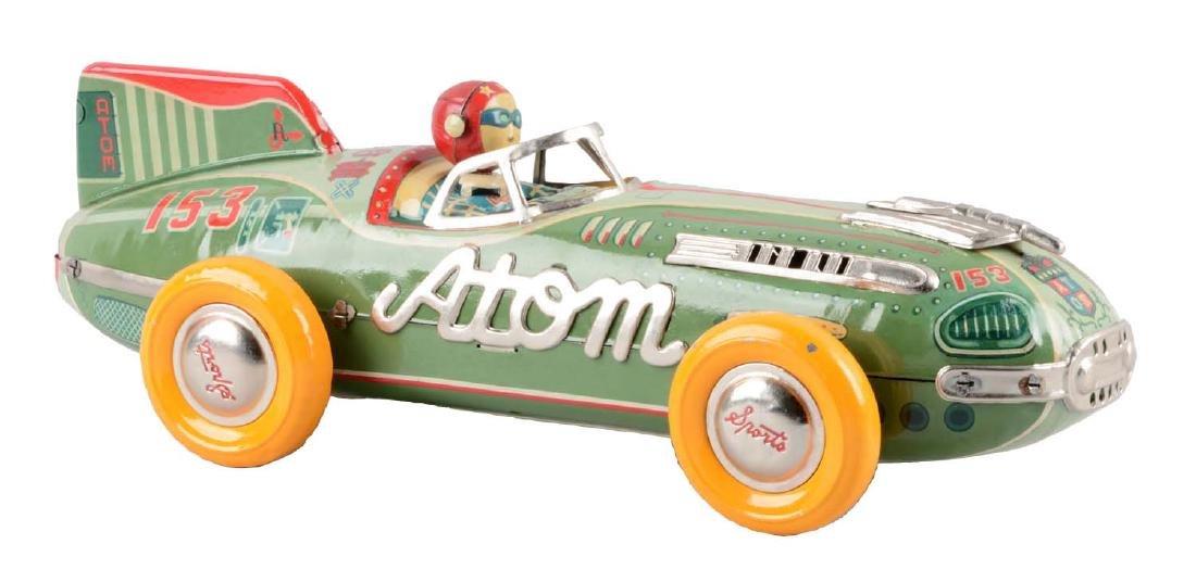 Japanese Tin Litho Friction Atom Race Car.