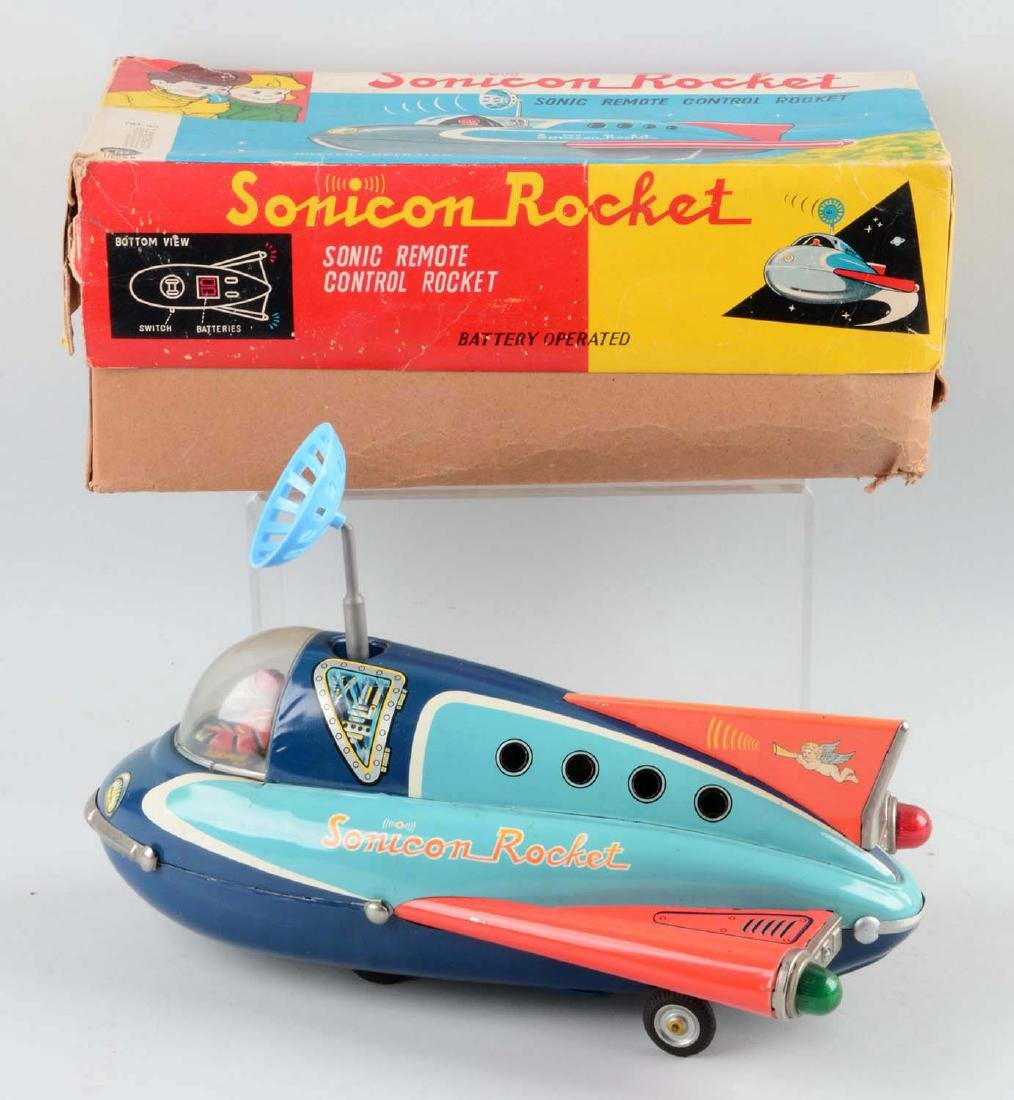 Japanese Tin Litho Battery-Operated Sonicon Rocket. - 2