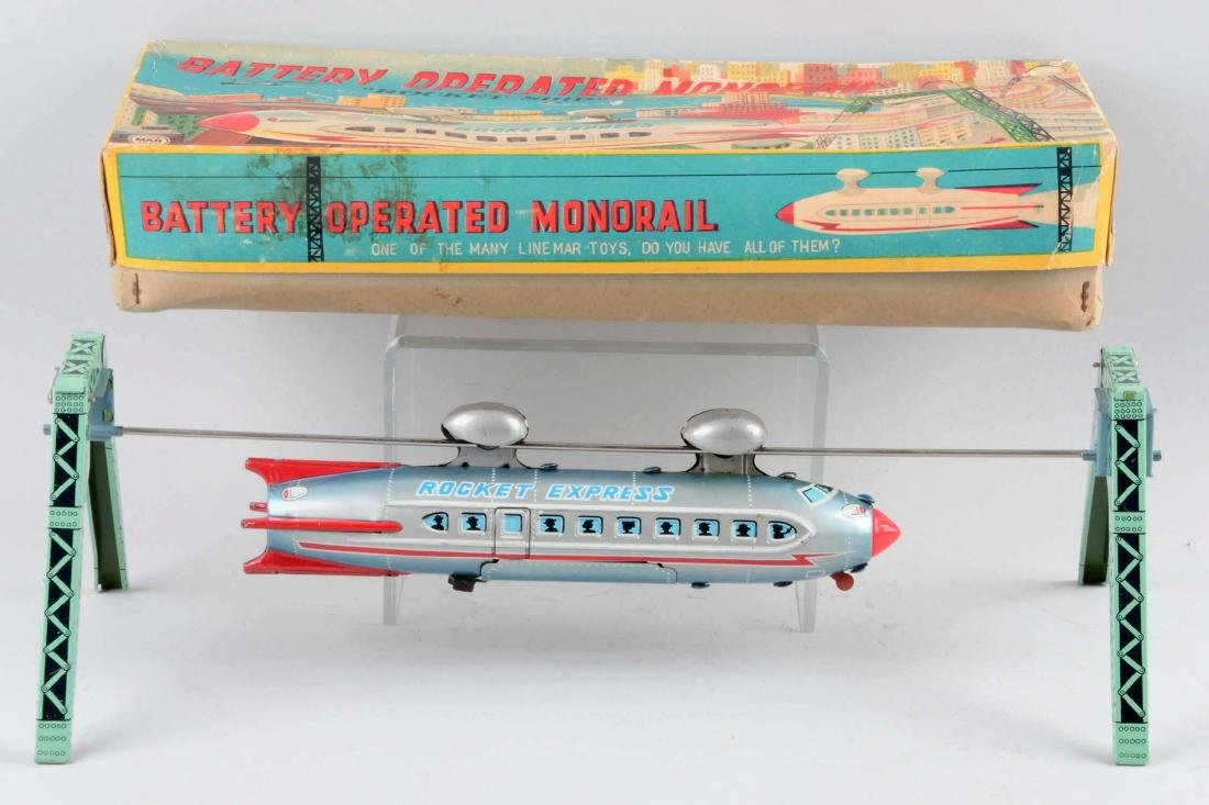 Japanese Tin Litho Battery-Operated Linemar Monorail - 2