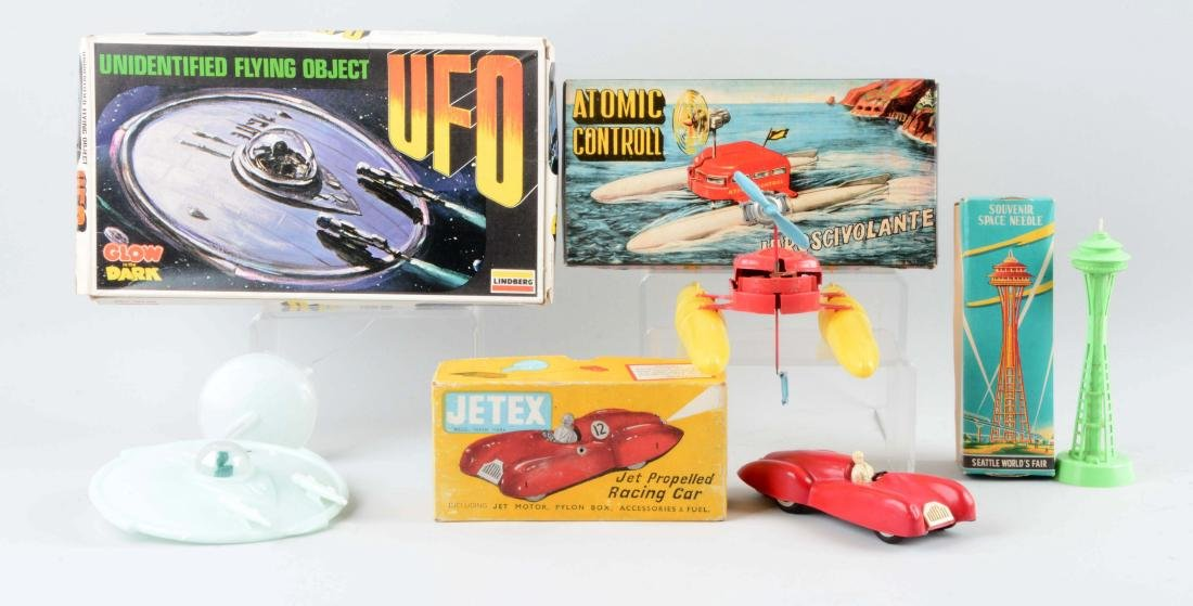 Lot Of 4: Vintage Plastic Space & Race Related Items.