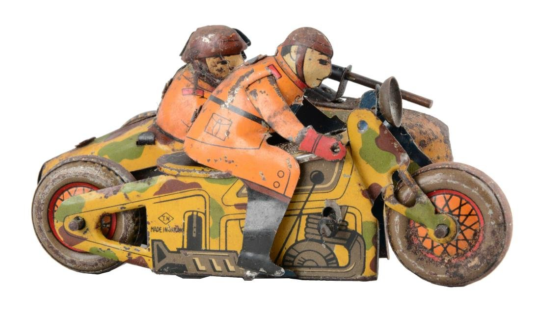 Japanese Pre-War Tin Litho Wind-Up Military Motorcycle