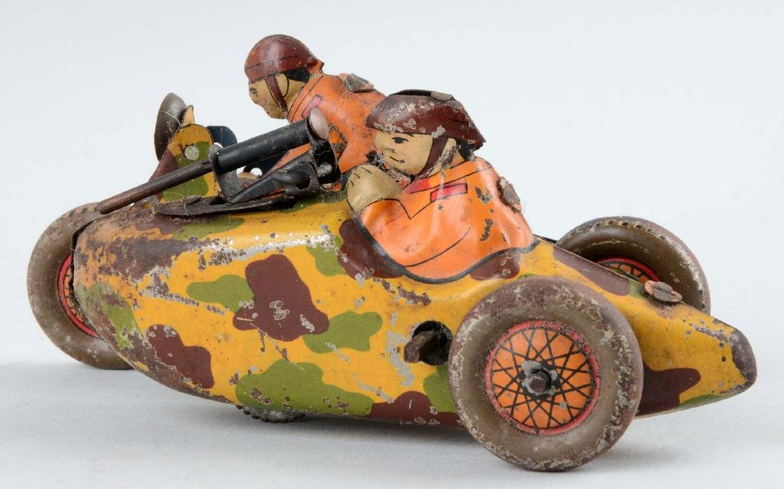 Japanese Pre-War Tin Litho Wind-Up Military Motorcycle - 2
