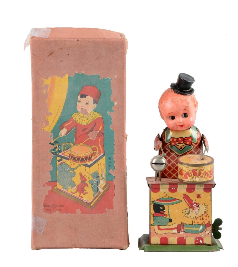 Pre-War Japanese Tin Litho & Celluloid Wind-Up Drumming