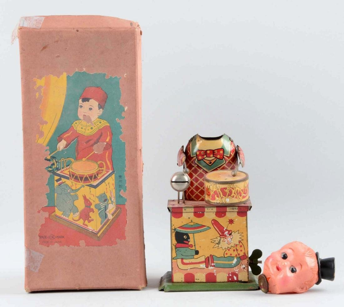 Pre-War Japanese Tin Litho & Celluloid Wind-Up Drumming - 2