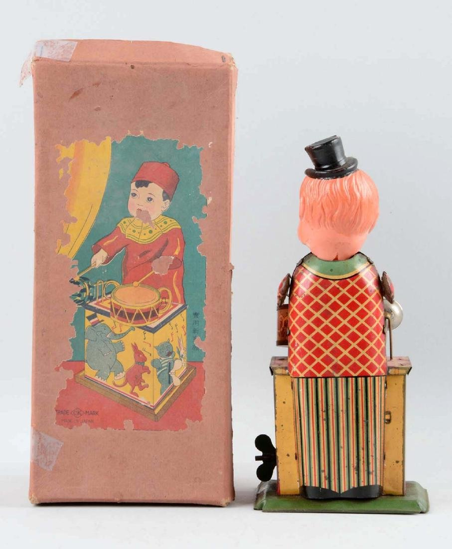 Pre-War Japanese Tin Litho & Celluloid Wind-Up Drumming - 3
