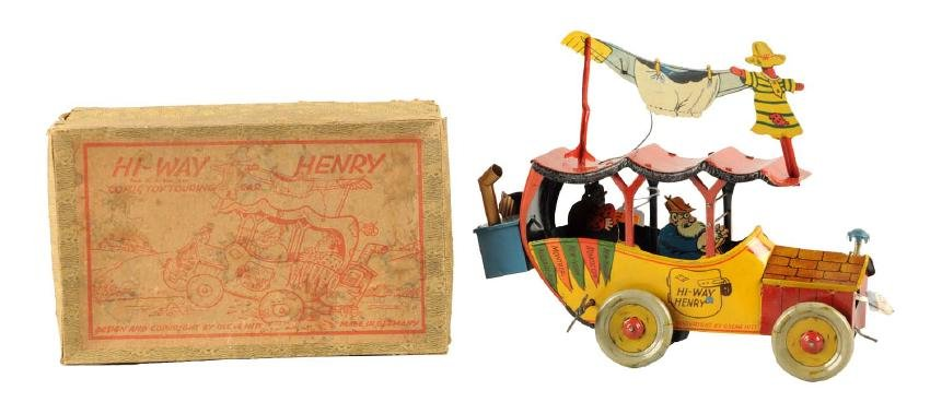 Very Rare German Nifty Tin Litho Wind-Up Hi-Way Henry