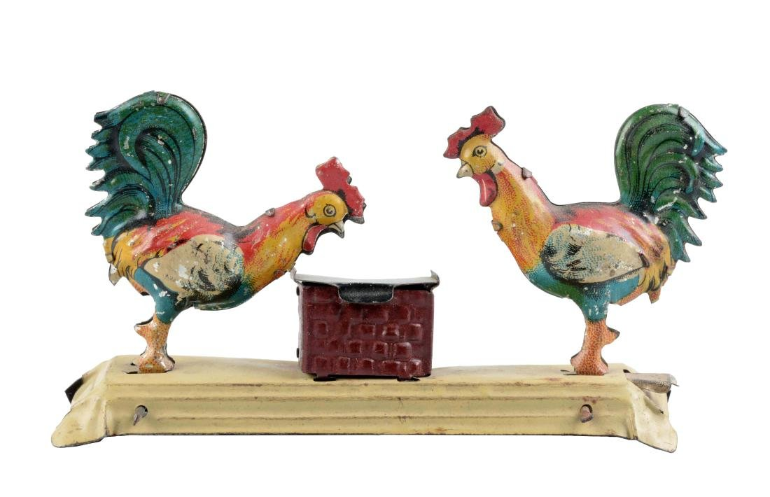 German Tin Litho Chickens Feeding Penny Toy.