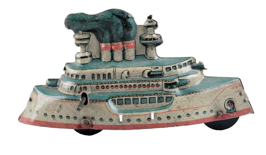 German Tin Litho Battleship Penny Toy.