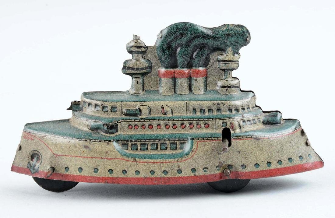 German Tin Litho Battleship Penny Toy. - 2