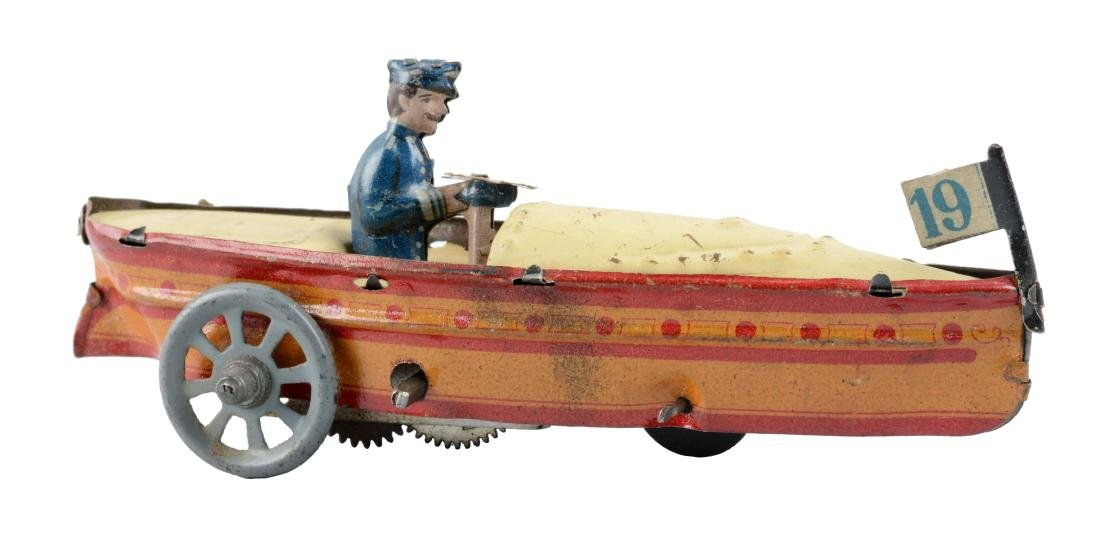 German Tin Litho Wind Up Penny Toy Speed Boat.